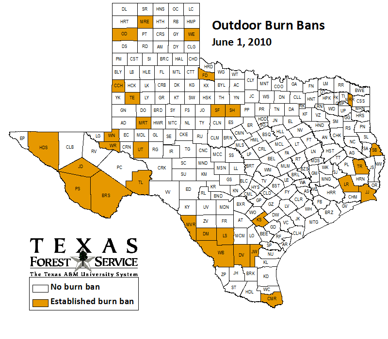 County-wide burn bans through June 1