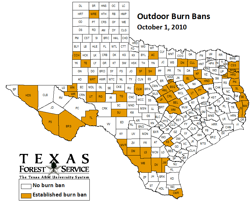 County-wide burn bans through October 1