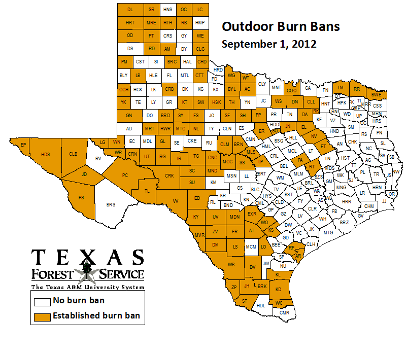 County-wide burn bans through September 1