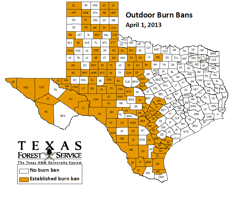 County-wide burn bans through April 1