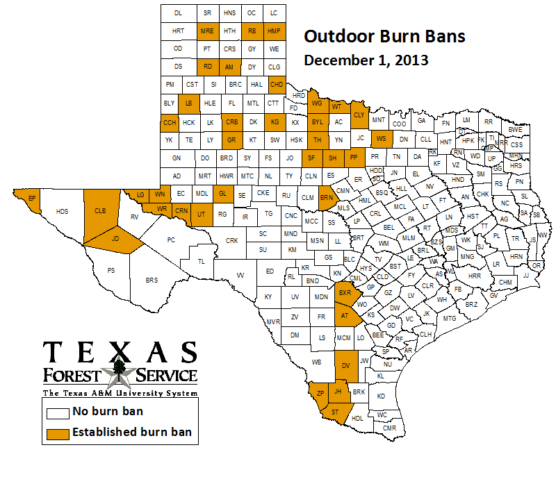 County-wide burn bans through December 1