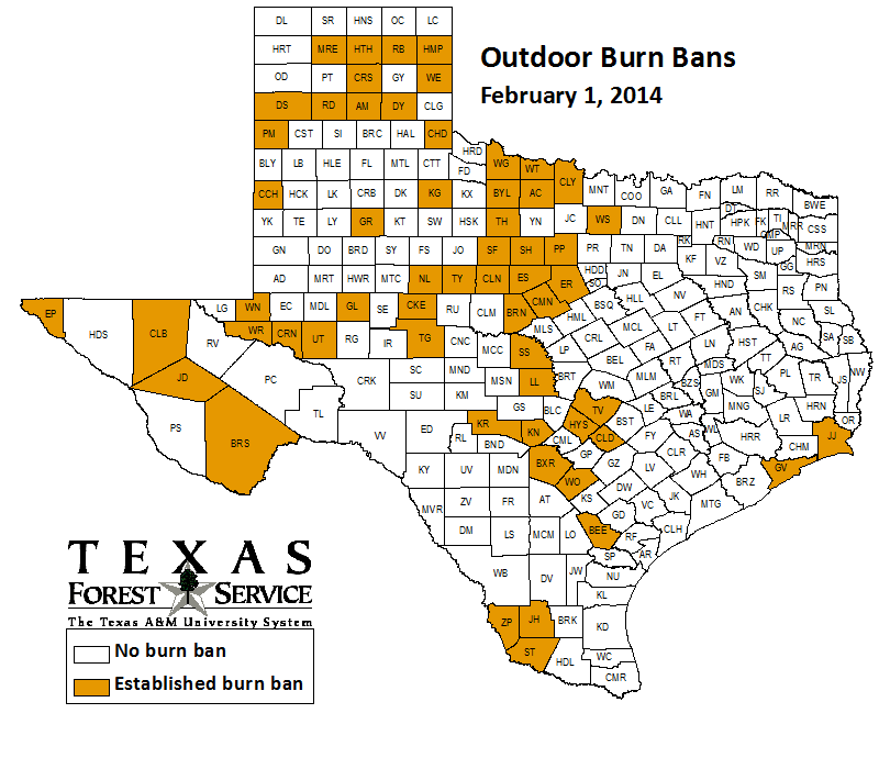County-wide burn bans through February 1
