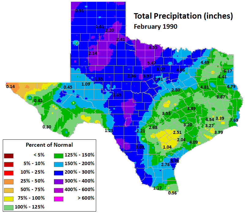 feb 1990 average precipitation