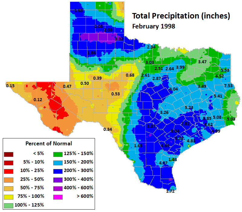 feb 1998 average precipitation