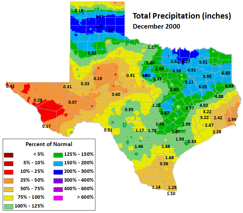 dec 2000 average precipitation