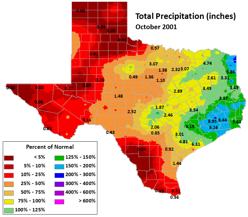 oct 2001 average precipitation