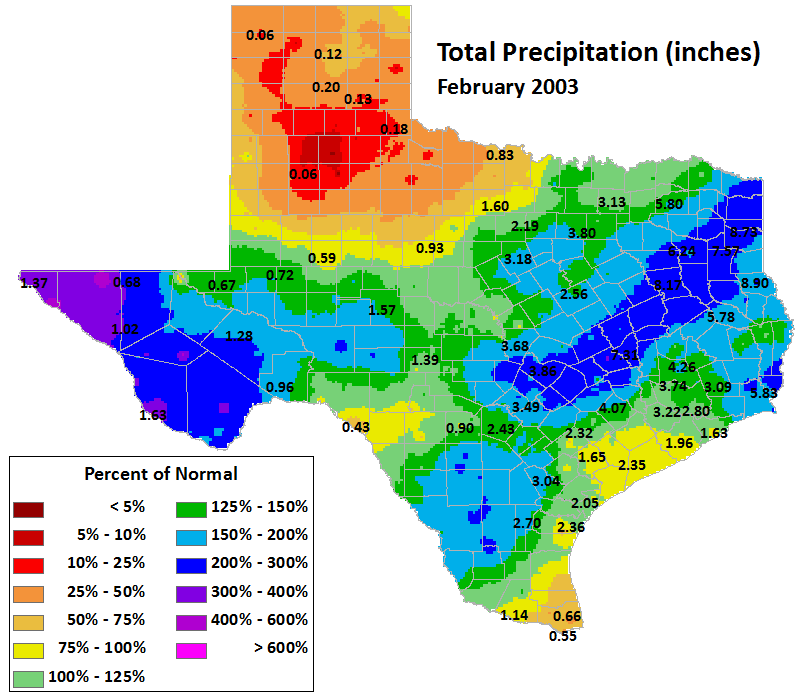 feb 2003 average precipitation