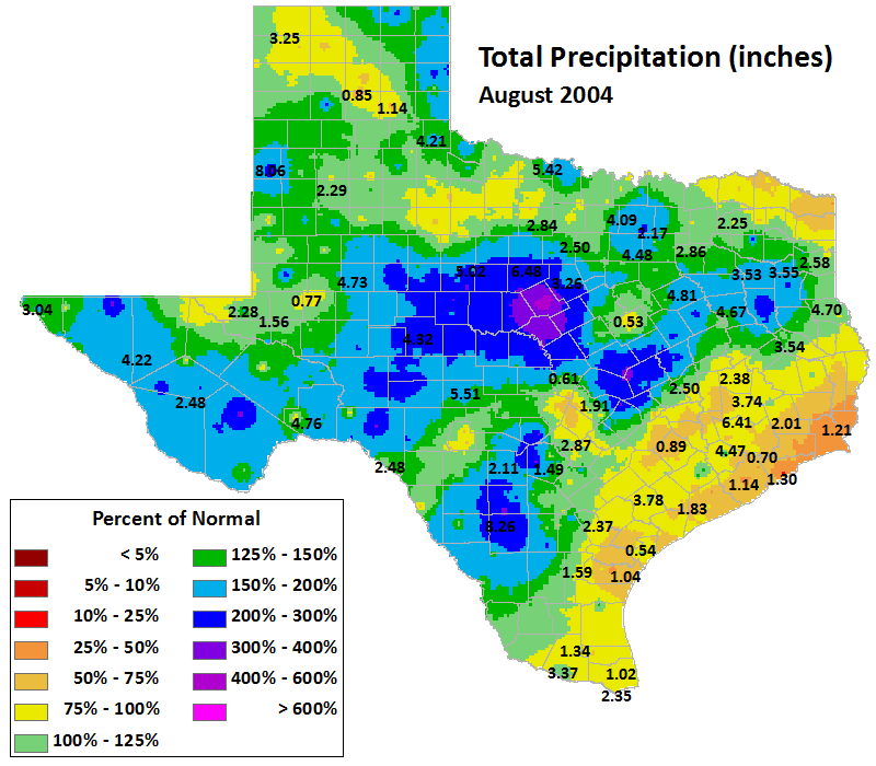 aug 2004 average precipitation