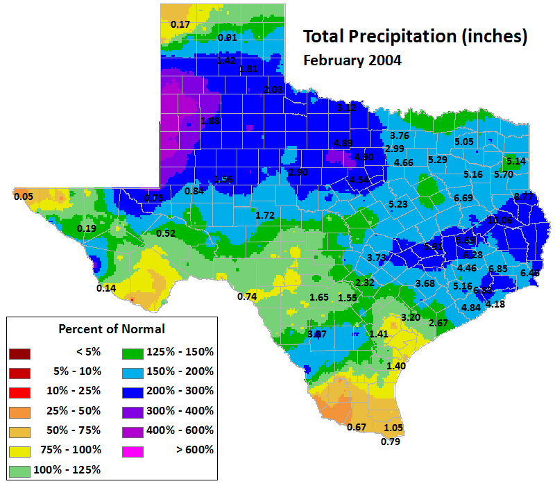 feb 2004 average precipitation