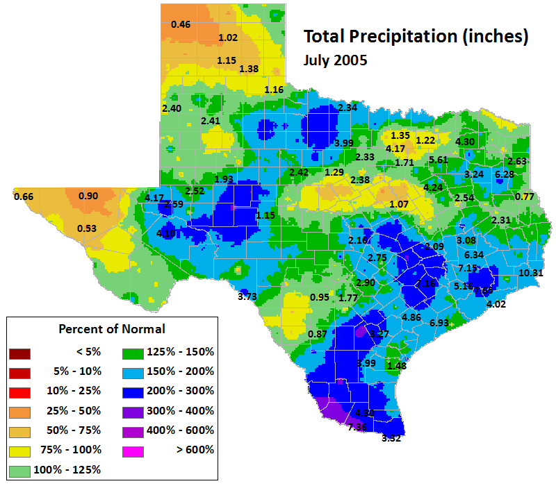 jul 2005 average precipitation
