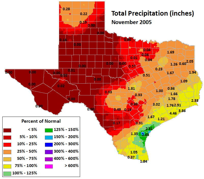 nov 2005 average precipitation