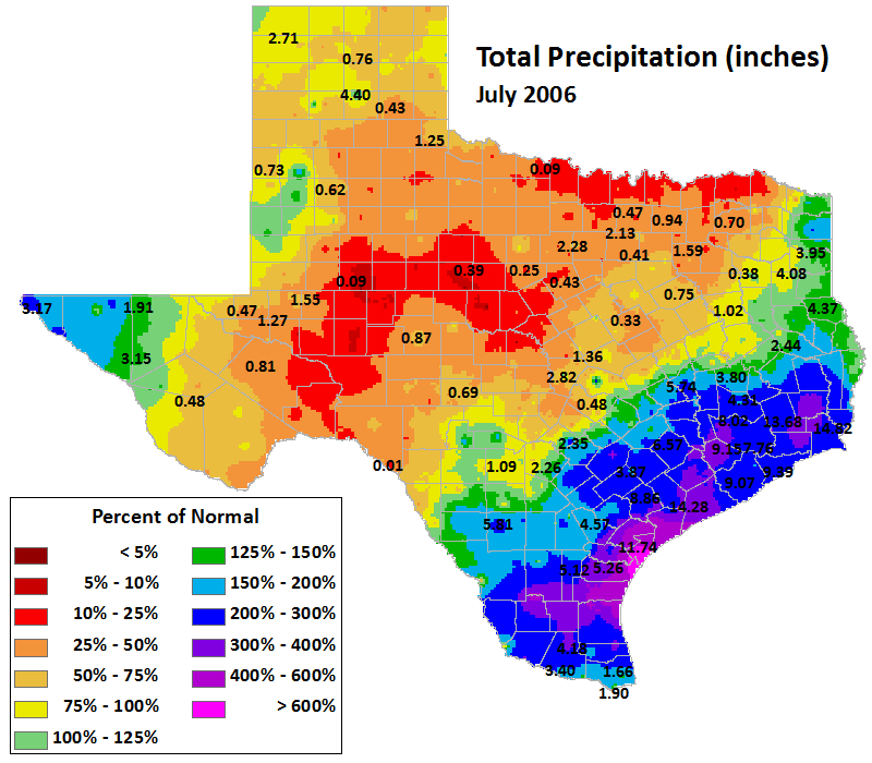 jul 2006 average precipitation