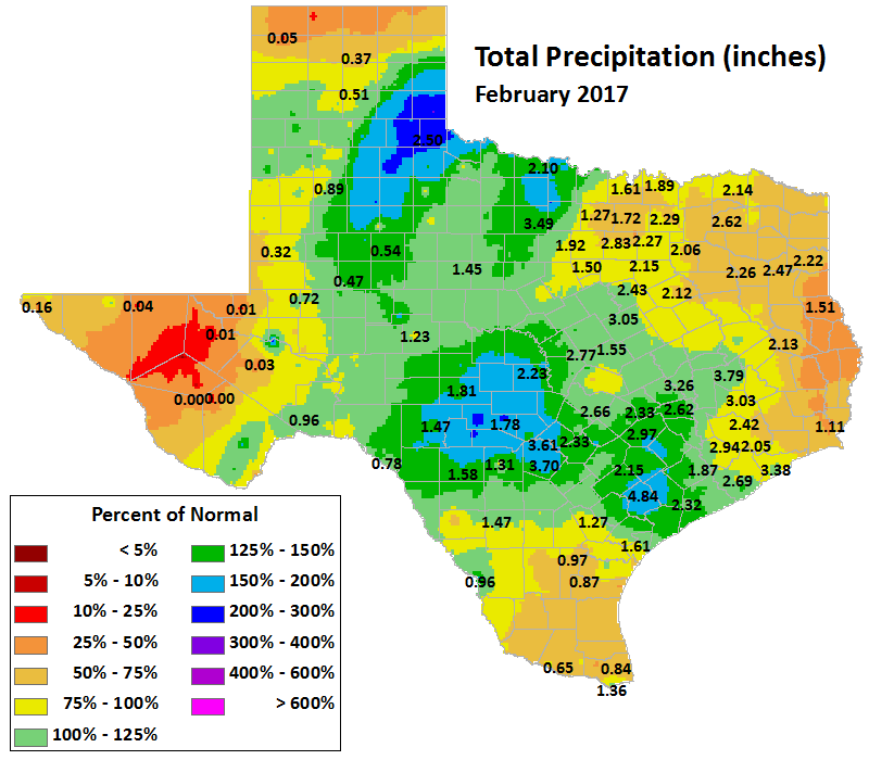 feb 2017 average precipitation