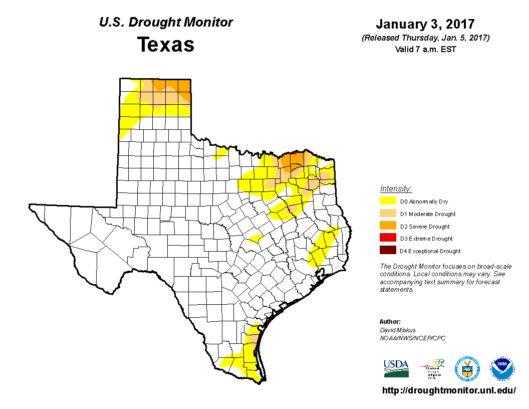 U.S. Drought Monitor, January 3, 2017