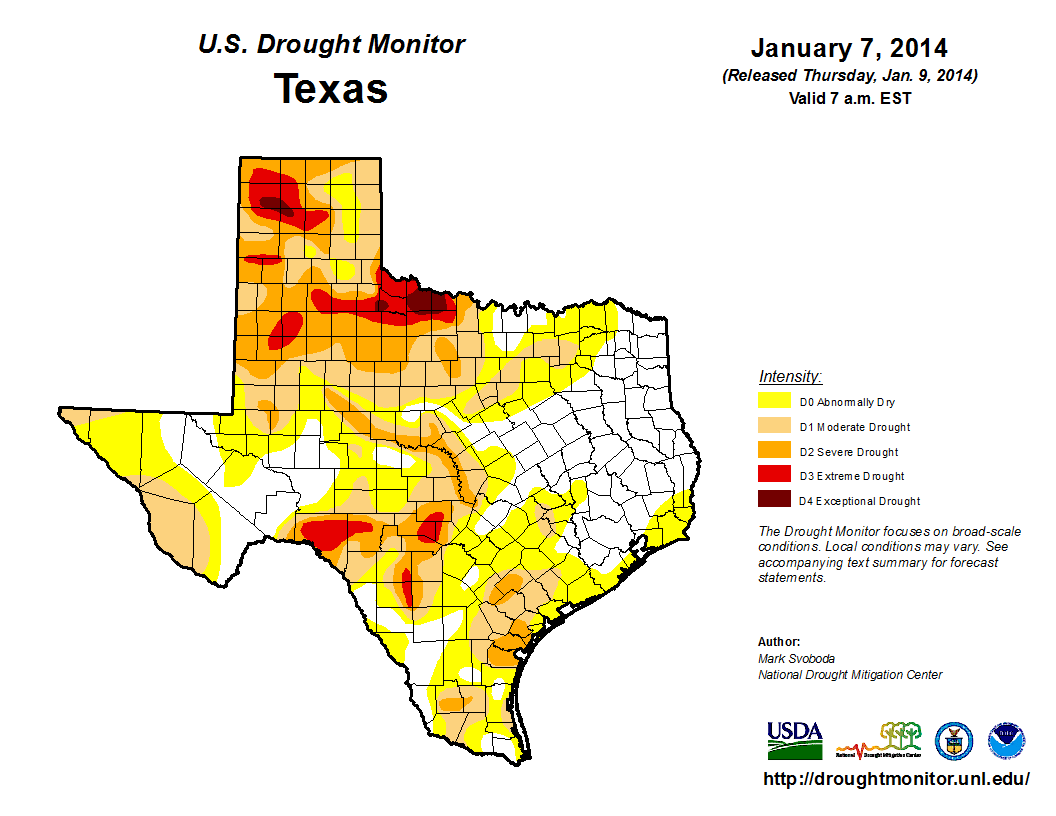 U.S. Drought Monitor, January 7, 2014