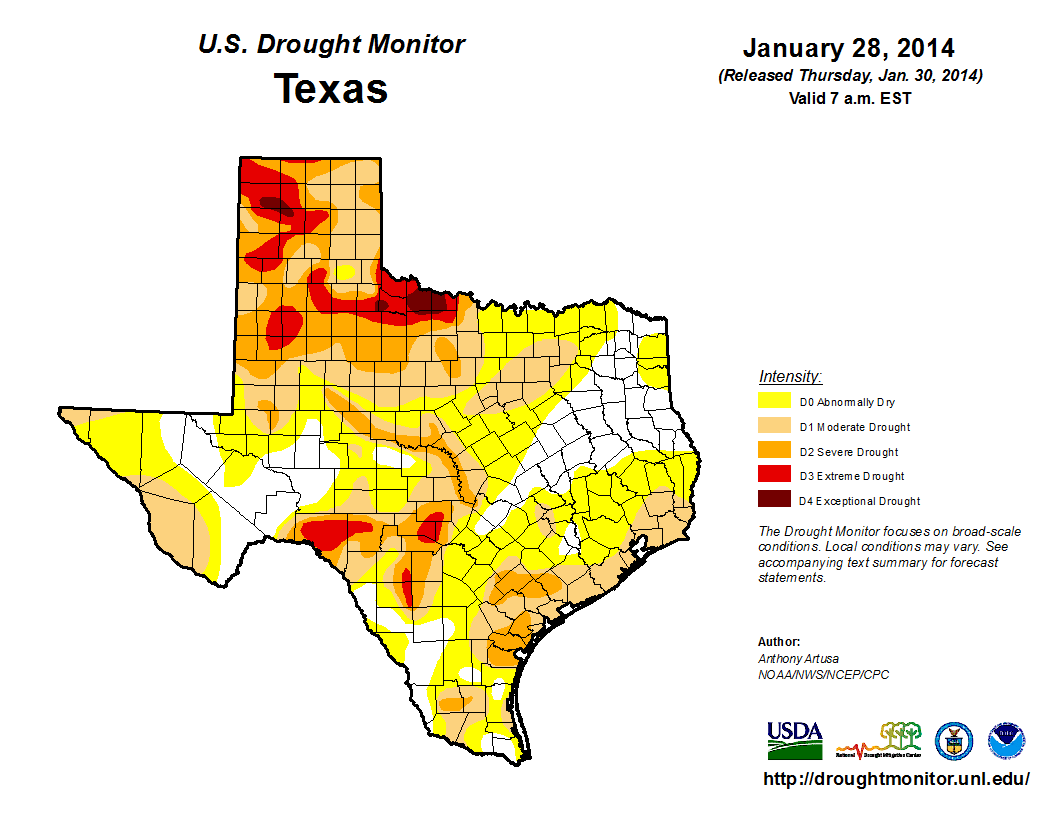 U.S. Drought Monitor, January 28, 2014