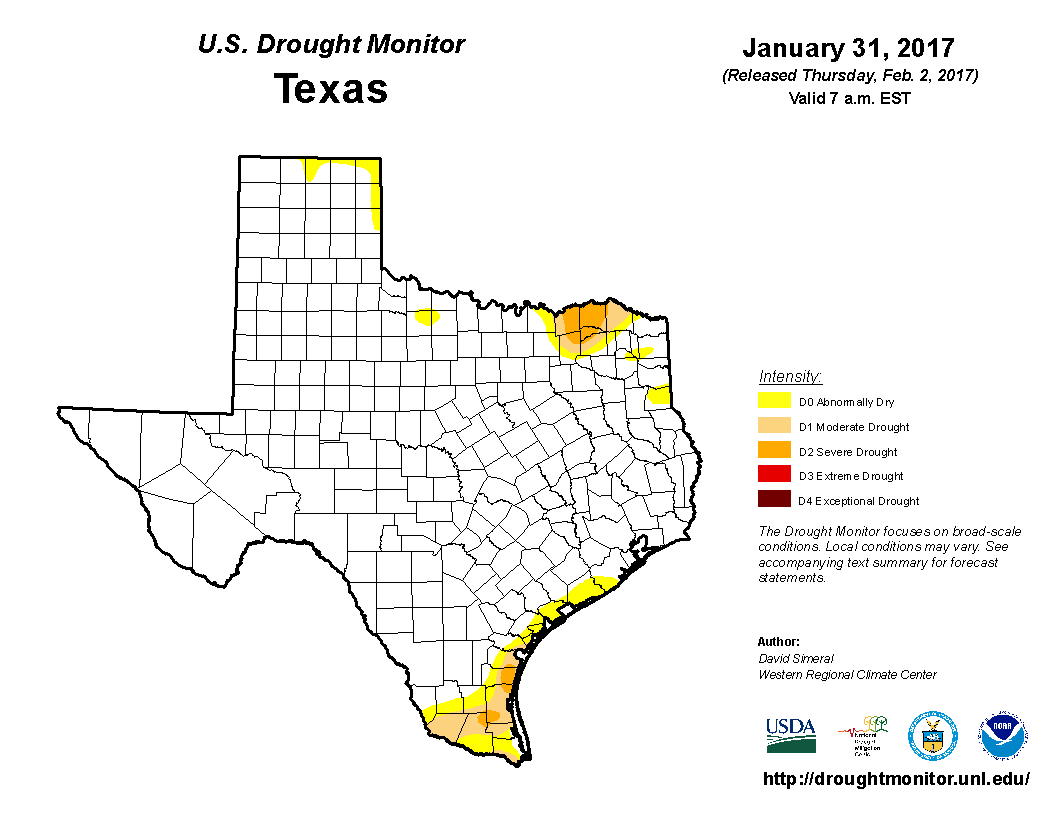 U.S. Drought Monitor, January 31, 2017