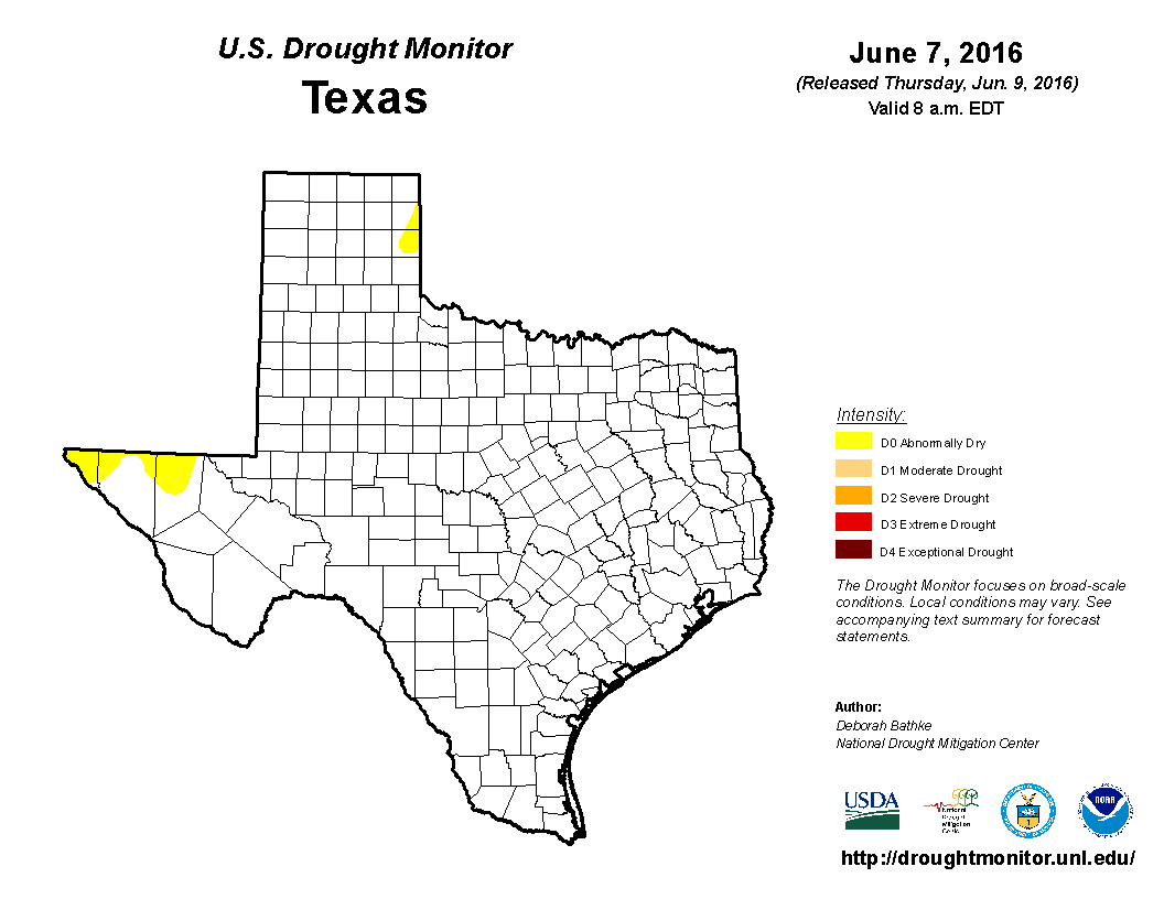 U.S. Drought Monitor, June 7, 2016