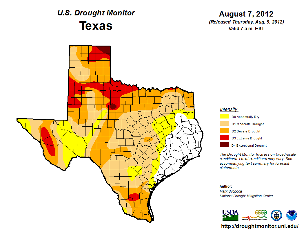 U.S. Drought Monitor, August 7, 2012