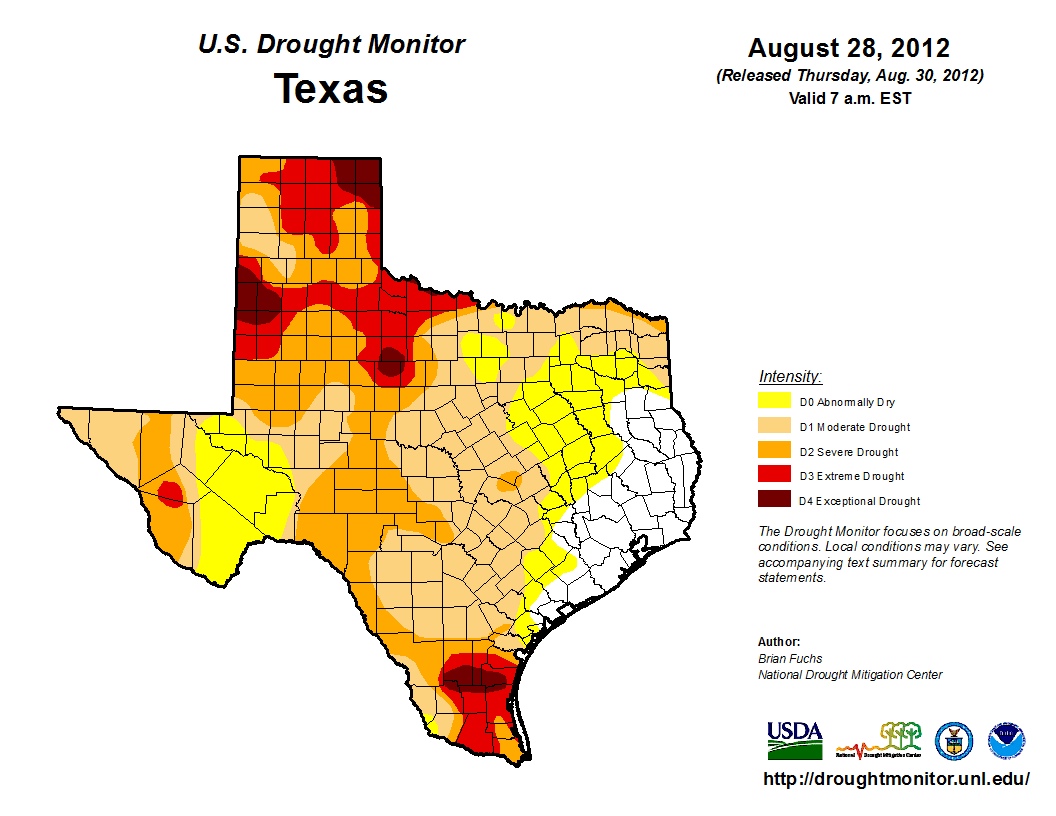U.S. Drought Monitor, August 28, 2012