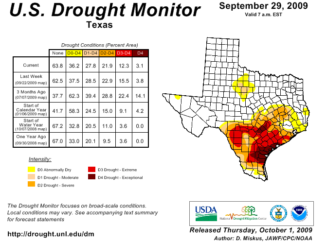 U.S. Drought Monitor, September 29, 2009