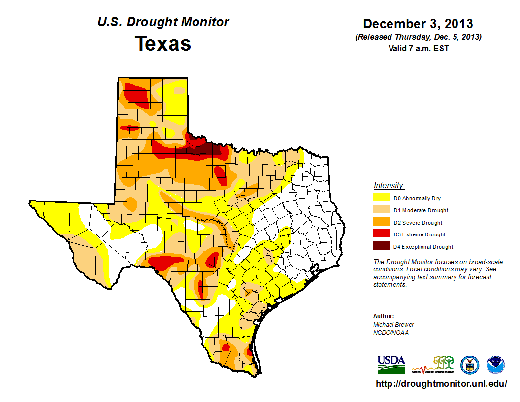U.S. Drought Monitor, December 3, 2013