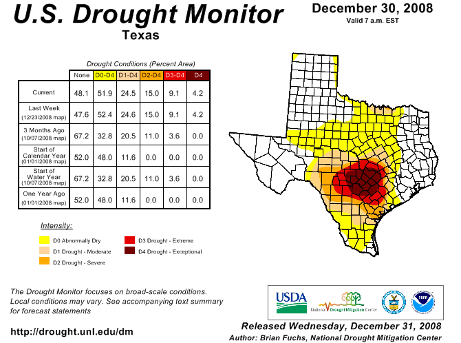 U.S. Drought Monitor, December 30, 2008