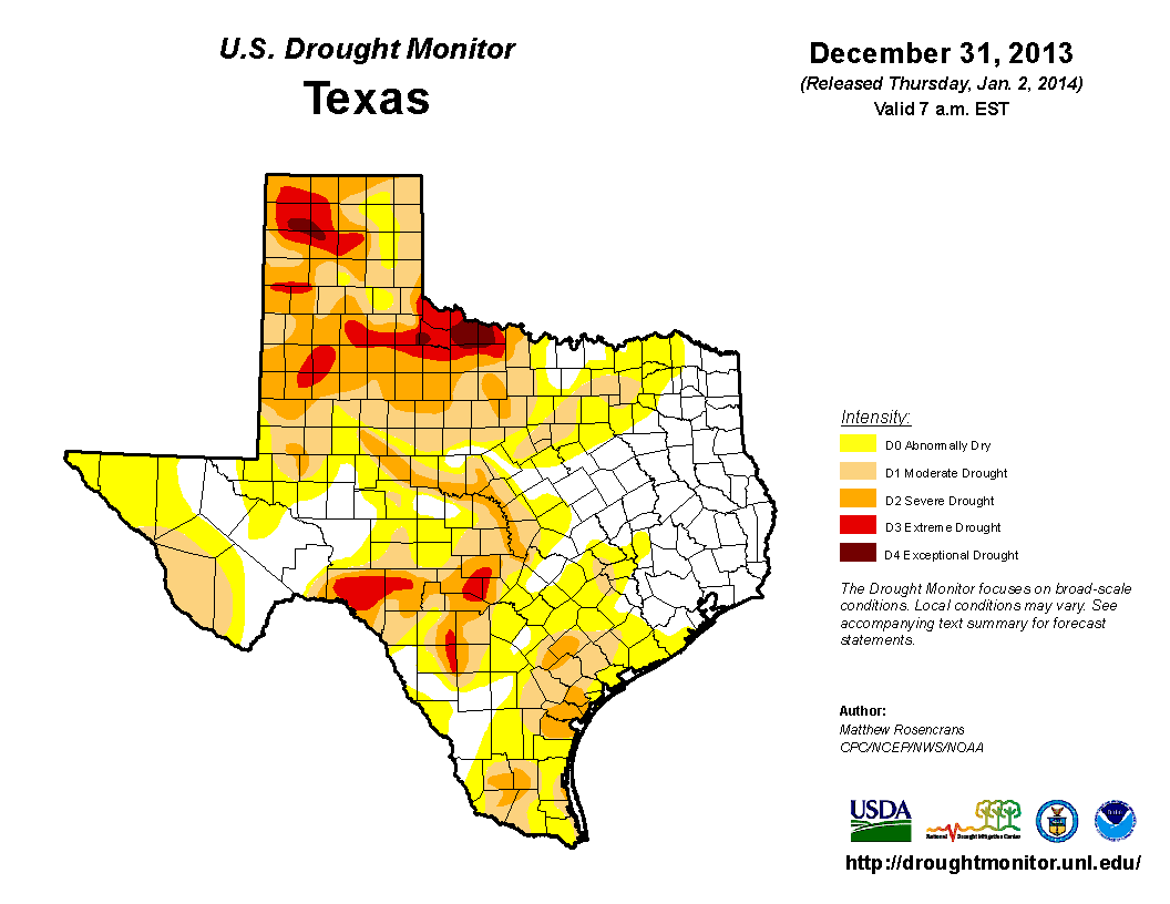 U.S. Drought Monitor, December 31, 2013