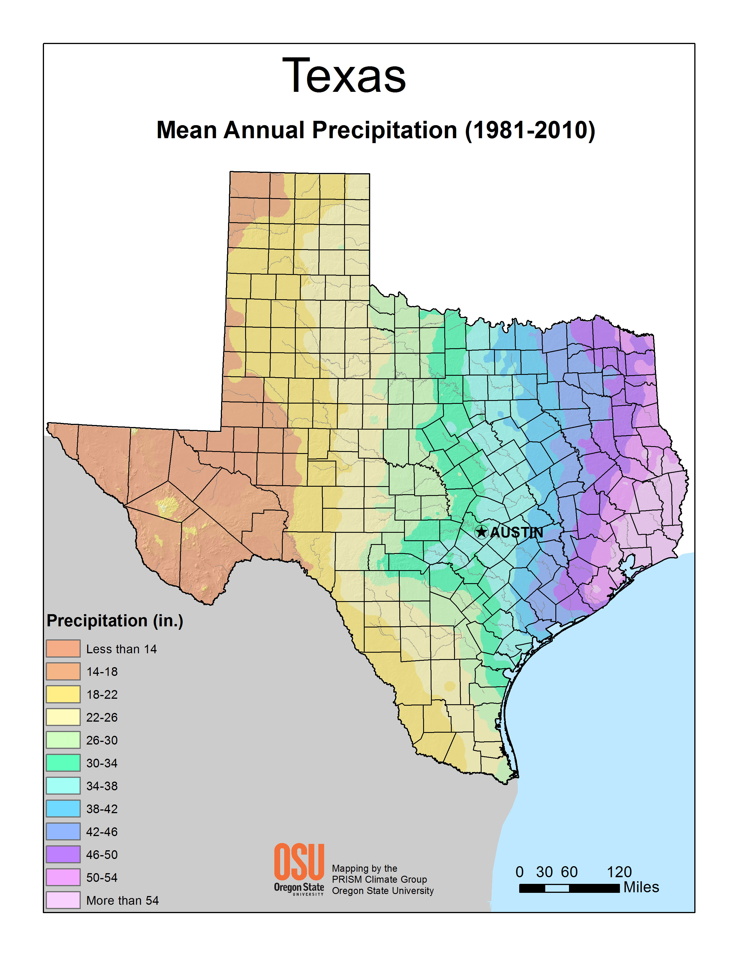 Texas Mean Annual Precipitation (1981-2010)