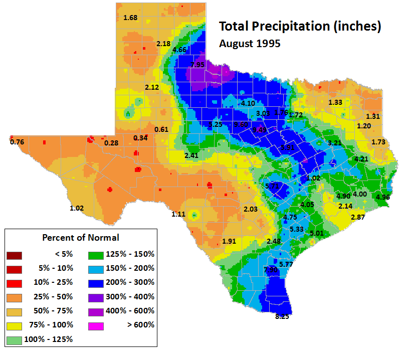 aug 1995 average precipitation