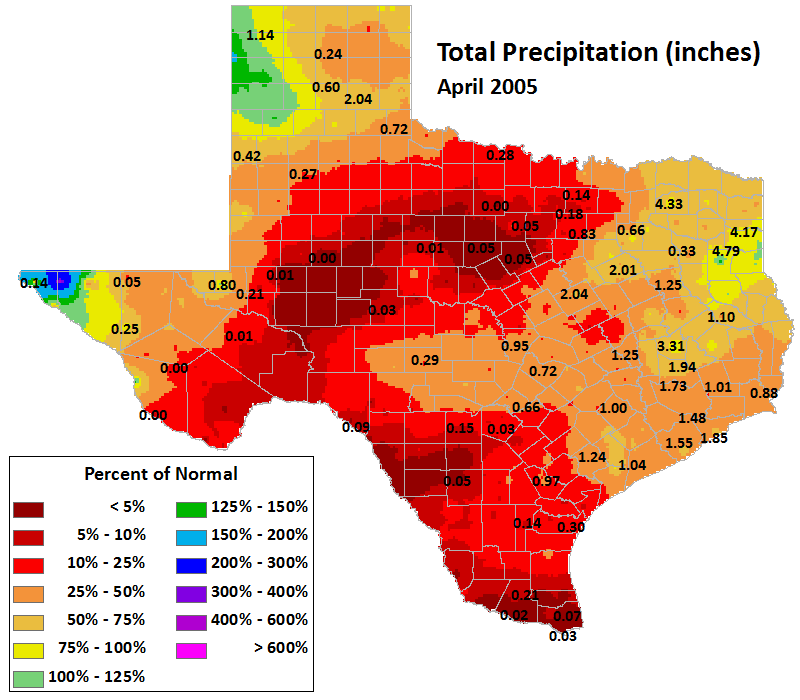 apr 2005 average precipitation