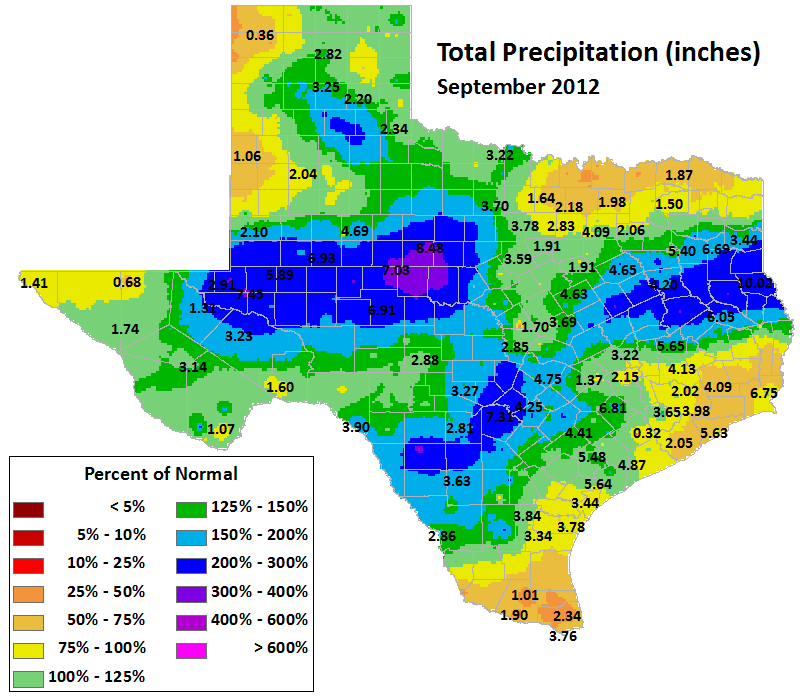 sep 2012 average precipitation